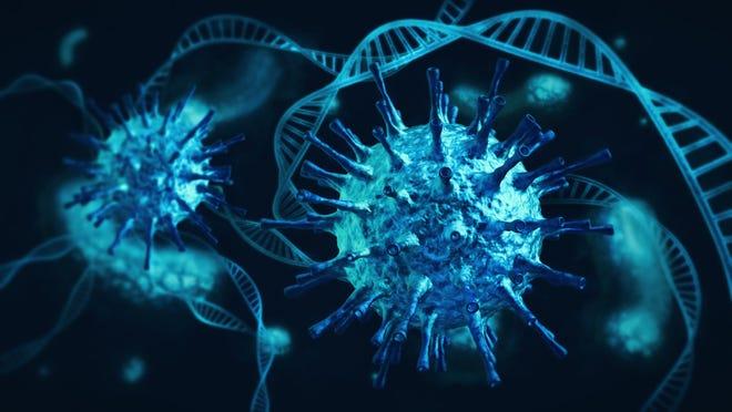 Coronavirus and DNA strands
