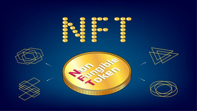 The letters NFT and symbols representing non-fungible tokens