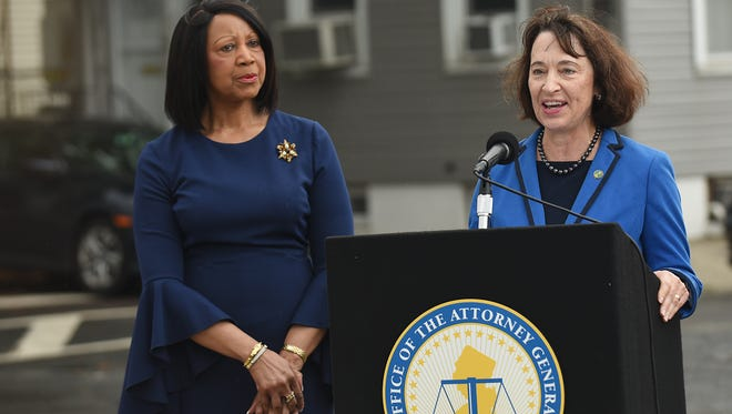 Commissioner of the state Department of Environmental Protection Catherine McCabe speaks during a press conference Wednesday in which it was announced that the state will file lawsuits focused on contaminated properties.