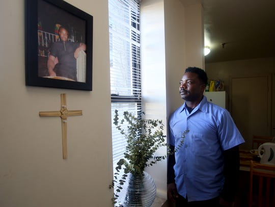 Terry Johnson of Mount Vernon photographed in his one-bedroom