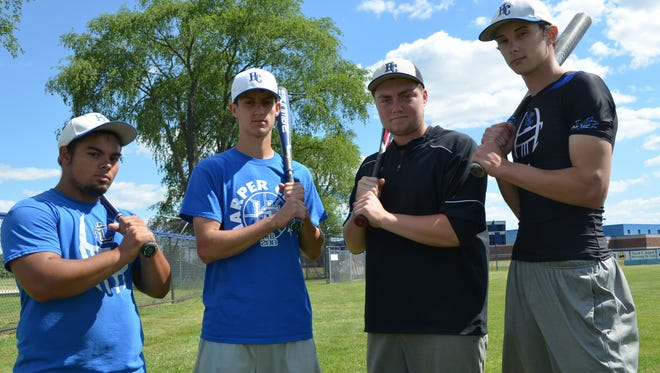 Harper  Creek has advanced to the baseball regionals led by seniors, from left, Jonny Ramos, Jeremiah Davis, AJ Mitchell and Gabe Rhodes.