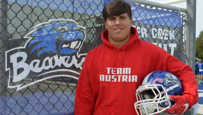 Harper Creek lineman Luca Denich is a foreign exhange student from Austria, who has already become a major part of the Beavers' state-ranked team.