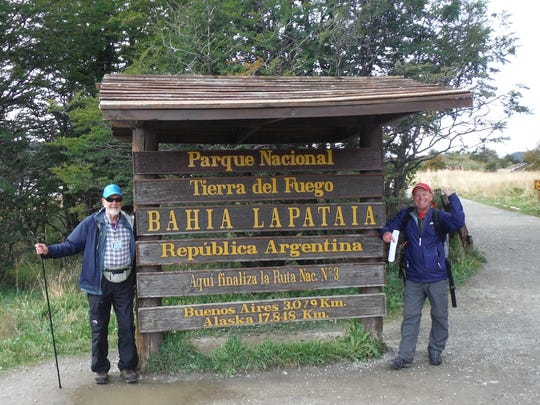 Chuck Head and their guide Pat in Tierra del Fuego.