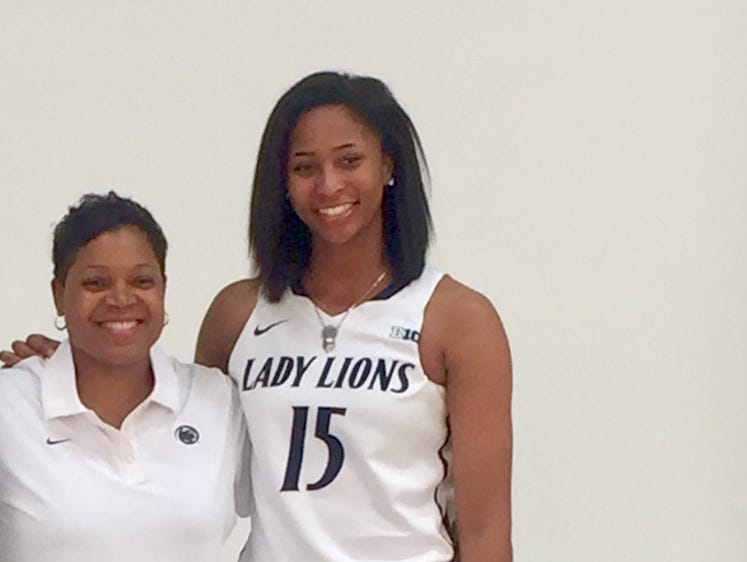 Waverly's Alisia Smith poses for a picture with Penn State women's basketball Coquese Washington. Smith verbally committed to Penn State this week.