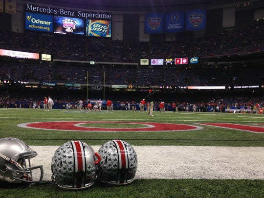 Ohio State helmets on display prior to the Sugar Bowl