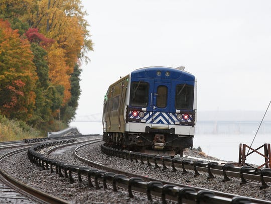 A Metro North train travels north along the Metro-North