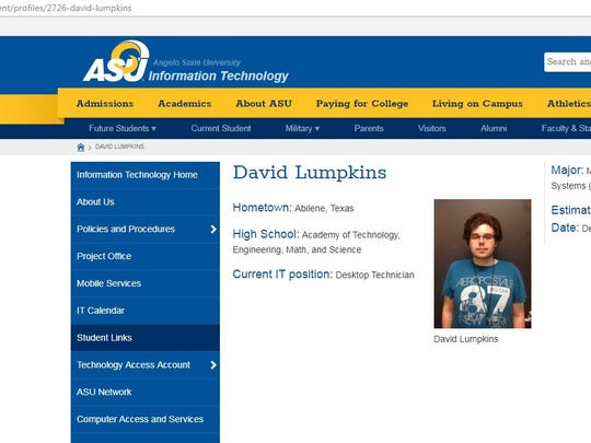The student page for David Lumpkins, 22, an information technology student worker at Angelo State Universtiy, who was arrested on drug-related charges. 4 p.m., Jan. 26, 2018