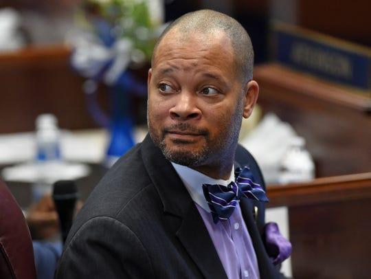 Senator Aaron Ford looks around the Senate chambers