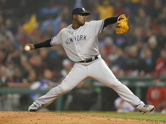 Yankees pitcher Luis Severino (40) delivers a pitch during the fourth inning against the Boston Red Sox at Fenway Park.