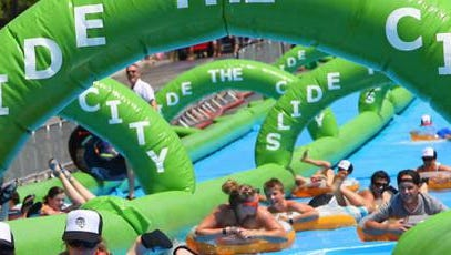 Slide The City, a giant water slide, will be among the features of the Rock the Red festival in downtown Alexandria on Saturday.