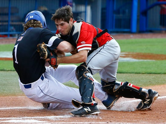 Rossview catcher David Meddick tags Brentwood's Henry