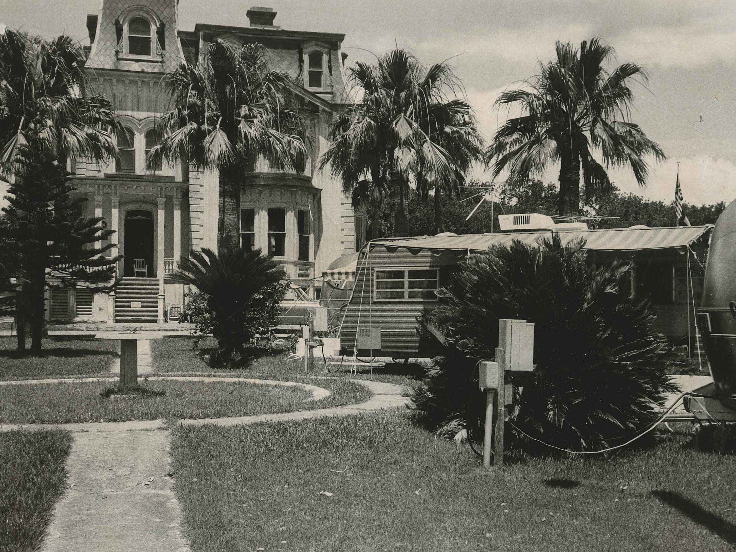 The Fulton Mansion serves as the backdrop to the Fulton Mansion Trailer Park in July 1973, which operated on the grounds in the 1960s through mid-1970s. The mansion was purchased by the Texas Parks and Wildlife Dept. in 1976 and opened as a historical site in 1983.