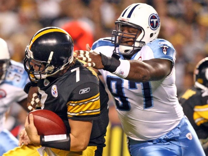 Pittsburgh Steelers quarterback Ben Roethlisberger (7) is sacked by Tennessee Titans defensive tackle Tony Brown (97) in the first quarter at Heinz Field Sept. 10, 2009. The Titans opens the season with a 13-10 lost in overtime.