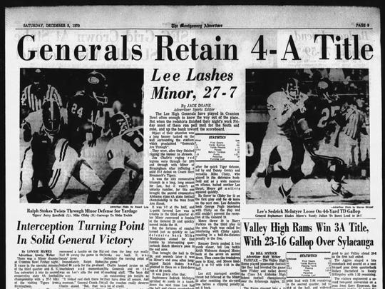 A page in the Dec. 5, 1970, edition of the Montgomery Advertiser shows the General's win.