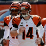 Cincinnati Bengals quarterback Andy Dalton (14) will lead his undefeated team on the road against the New England Patriots.