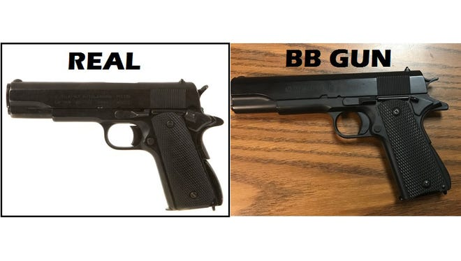 Laurel police issued this photo to show the comparison between a Colt .45 semi-automatic handgun and an altered BB gun.