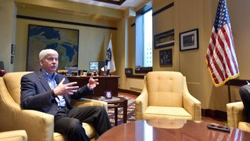 Gov. Rick Snyder sits down with the Detroit News for his annual end-of-the-year interview in his Lansing office on Wednesday, Dec 21, 2016.