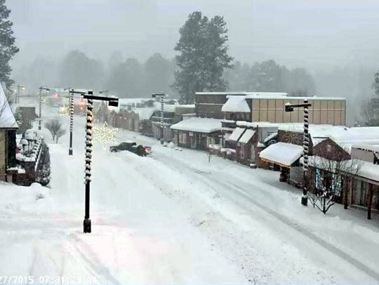 The village of Ruidoso webcam shows conditions during