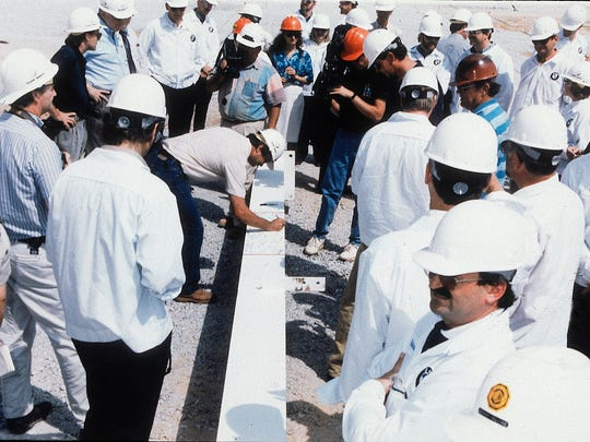 The first beam at the BMW plant in Spartanburg, South Carolina, is signed in 1993.