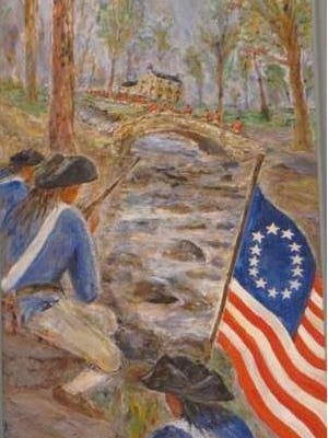 The late artist Jack Lewis added the Stars and Stripes to his painting of the Battle of Cooch's Bridge, which hangs in Legislative Hall in Dover, at the request of two prominent Cooches, urging him to reflect the traditional – if unproven – account that the flag first was flown in battle there.