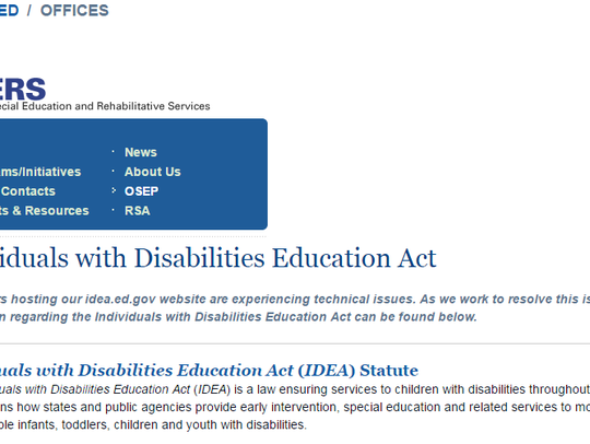 A screenshot of the current idea.ed.gov website, which