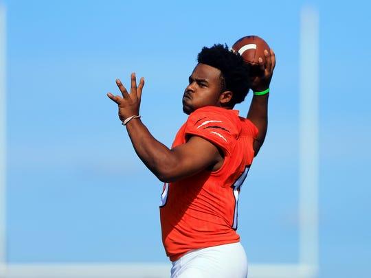 Refugio quarterback Jacob Avery on Monday, July 17, 2017, at Refugio High School in Corpus Christi.