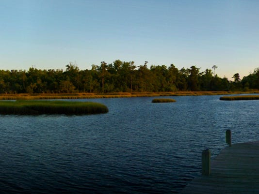 Panoramic Serene Estuary at Sunset