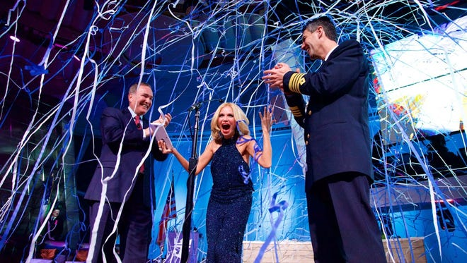 Actress Kristin Chenoweth served as godmother of Royal Caribbean's new Quantum of the Seas during a naming ceremony on Nov. 14, 2014.