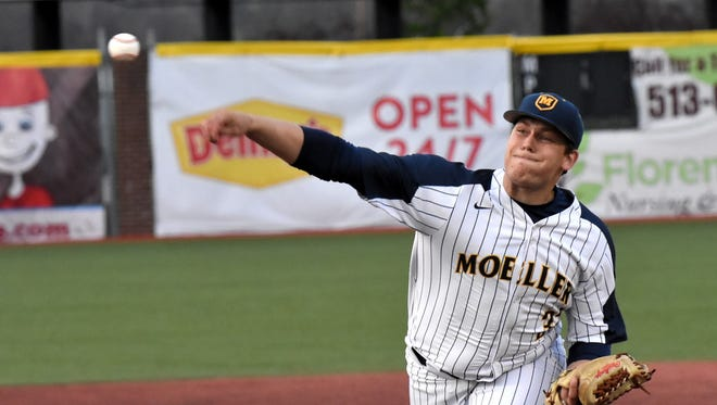 Moeller pitcher Mo Schaffer opens up the game on the hill for the Crusaders as they take on LaSalle at UC Health Stadium, April 25, 2018.