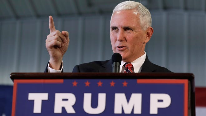 Republican vice presidential candidate, Indiana Gov. Mike Pence, speaks during a campaign rally, Thursday, Nov. 3, 2016, in Prole, Iowa.