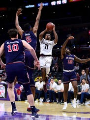 Shannon Evans II of Arizona State attempts a jumper against St. John's during the Basketball Hall of Fame Classic at Staples Center on Dec. 8, 2017 in Los Angeles.