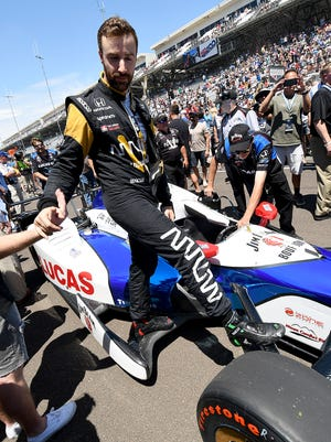 Schmidt Peterson Motorsports IndyCar driver James Hinchcliffe (5) came in 2nd place in the Indy 500 Pit Stop Challenge during Carb Day practice at the Indianapolis Motor Speedway Friday, May 26, 2017.