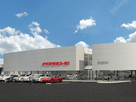 A rendering of the new Porsche of Naples dealership