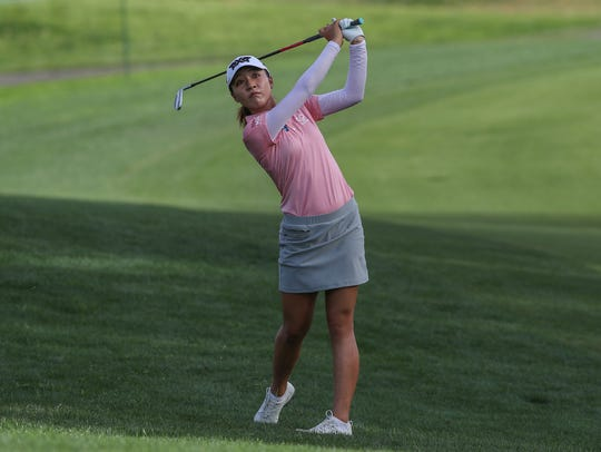 Lydia Ko hits an approach shot on the 7th hole at the