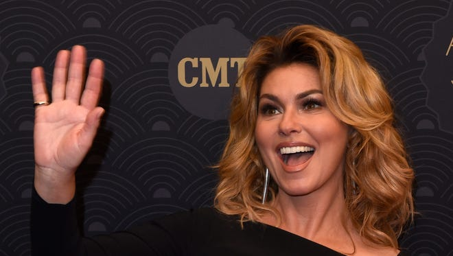 Honoree Shania Twain on the CMT Artist of the Year Awards red carpet at Schermerhorn Symphony Center on Oct. 19, 2016.