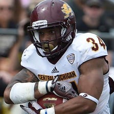 Central Michigan running back Thomas Rawls runs against the Purdue Boilermakers at Ross Ade Stadium.