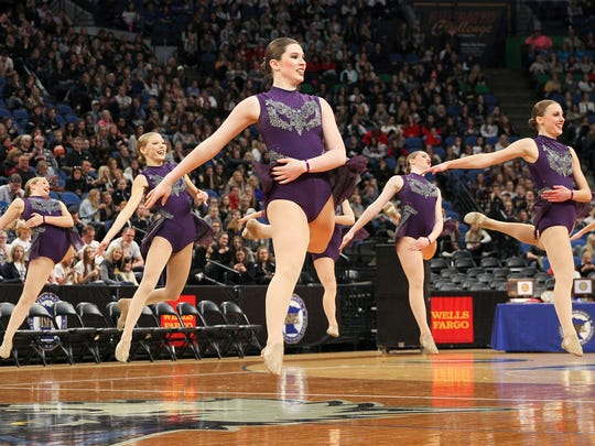 The Sartell Sabres compete in the preliminary round of the state Class 2A jazz dance team tournament Friday, Feb. 17, at the Target Center in Minneapolis.