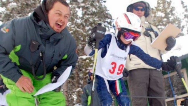 With his typical enthusiasm, Stefan Seigmann coached a young skier.