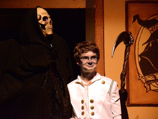 Kyle Legore as Death and Owen Edwards as King Verence