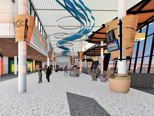 A rendering of the planned new food court area just inside the security checkpoint of the Greater Rochester International Airport.