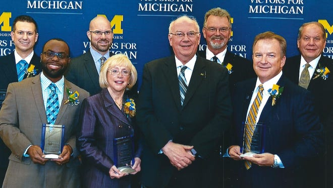 Westland 18th District Judge Sandra Cicirelli was among alumni recently honored by the University of Michigan-Dearborn. The honorees included: Christopher Scott (front row left), Cicirelli, Chancellor Daniel Little and David Spraight.  In the second row from left, Eric Sadek, Jeffrey Henning, John Cole and Mark Atkinson.