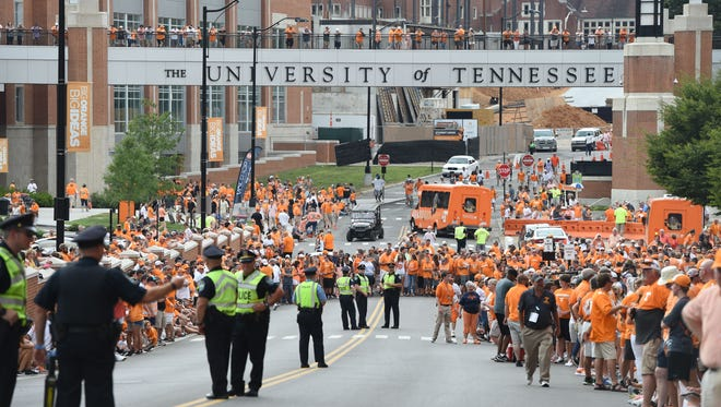 Fans wait for the start of the Vol Walk at Neyland Stadium on Thursday, Sept. 1, 2016. (AMY SMOTHERMAN BURGESS/NEWS SENTINEL)