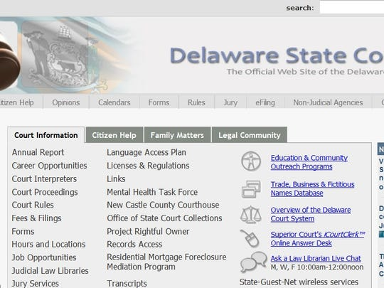 The old Delaware Courts website.