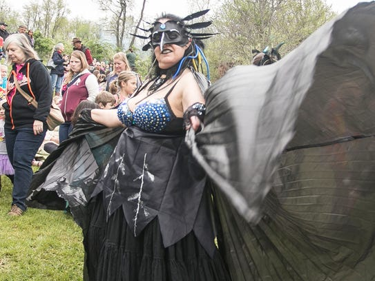 Dressed as a Raven spirit, Devon McLaughlin, of Stewartstown,