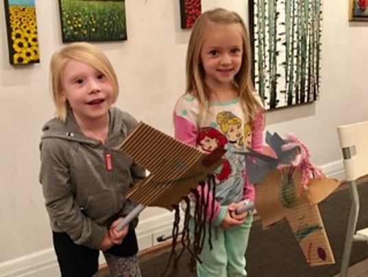 Kids with DIY play horses
