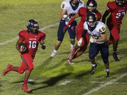 South Fort Myers High School's Kam Crawford returns a kickoff against Naples during second quarter play Friday at South Fort Myers High School. Naples beat South 39-12.