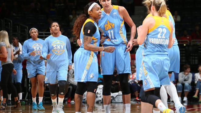 WASHINGTON, DC - AUGUST 23: Cappie Pondexter #23 and Elena Delle Donne #11 of the Chicago Sky huddle up during a game against the Washington Mystics on August 23, 2015 at the Verizon Center in Washington, DC. NOTE TO USER: User expressly acknowledges and agrees that, by downloading and or using this Photograph, user is consenting to the terms and conditions of the Getty Images License Agreement. Mandatory Copyright Notice: Copyright 2015 NBAE (Photo by Ned Dishman/NBAE via Getty Images)
