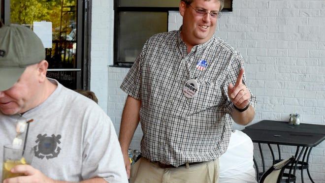 Councilman-elect Terry Short Jr. smiles as he awaits Waynesboro election results Tuesday.
