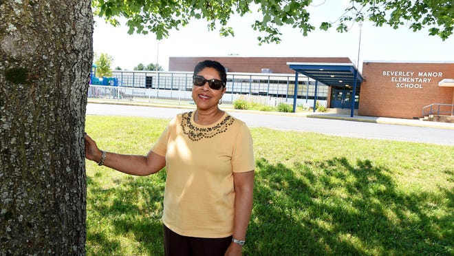 Sadie Casey Graves went to Central Augusta High School back in the 1960s. She is photographed in front of the school, now named Beverley Manor Elementary, on Tuesday, June 14, 2016.
