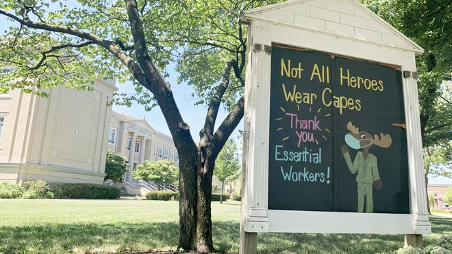 A sign outside Montrose Elementary School in Bexley recognizes essential workers during the coronavirus pandemic. Bexley's schools are among those that will begin the new school year with strictly online learning.
